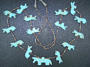 Native American Carved Turquoise Horses Fetish Necklace