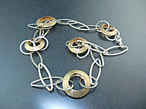Sterling Silver Brushed Gold Link Necklace