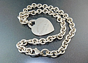 Tiffany Sterling Silver Large Heart 18 Inch Necklace