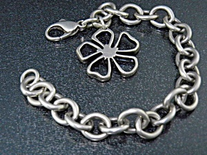 Tiffany & Co Sterling Silver Flower Charm Bracelet