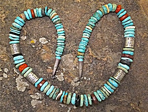 Native American Turquoise Coral Sterling Silver