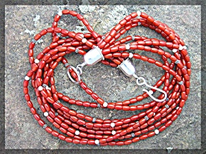Necklace Mediterranean Coral Sterling Silver 9 Strand