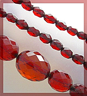 Necklace Cherry Amber Faceted Graduated Antique