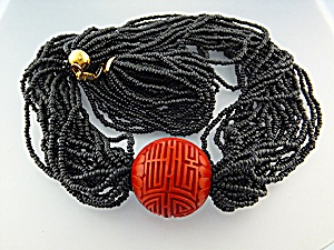 Necklace HOBE Cinnabar Chunky  Black Beads (Image1)