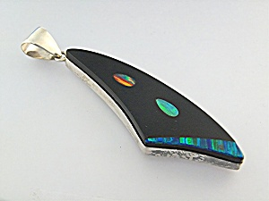 Pendant Sterling Silver Onyx Opal Signed TS (Image1)