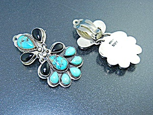 Navajo Kingman Turquoise Sterling Silver Clip Earrings