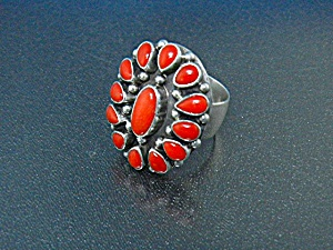 Navajo Coral Sterling Silver Paul Livingston Ring