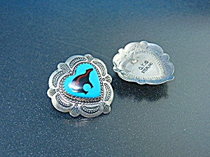 Navajo Turquoise Onyx Bear Hearts Sterling Silver Post