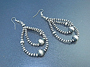 Navajo Sterling Silver Beaded Shepherd Hook Earrings