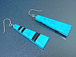 Navajo Kingman Turquoise Onyx Sterling Silver Earrings