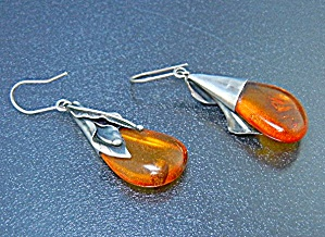 Amber And Sterling Silver Shepherd Hook Earrings