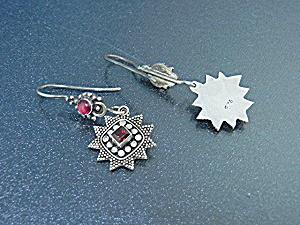 Indonesia Sterling Silver Garnet Dot Pierced Earrings (Image1)
