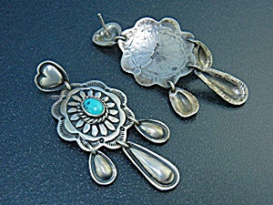 Navajo Sterling Silver Turquoise Pierced Earrings