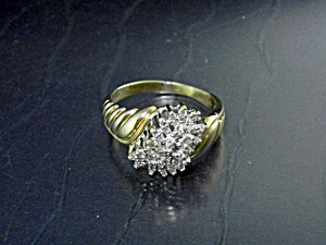 Diamond 10K Gold Cluster Ring Approx 3/4 Ct (Image1)