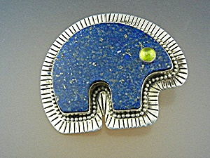 David Troutman Lapis Sterling Silver Bear Pin Pendant