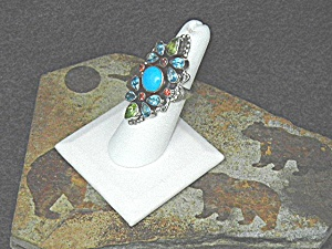 Leo Feeney Sterling Silver Turquoise Peridot Topaz Ring