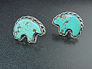 Navajo Sterling Silver Kingman Turquoise Clip Earrings