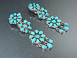 Navajo Sterling Silver Sleeping Beauty Turquoise Clip E