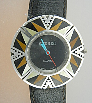 Surrisi Sterling Silver Jasper Onyx Mother Pearl Watch