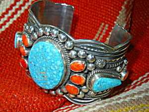 Andy Cadman Bracelet Strling Silver Turquoise Spiny Oys (Image1)