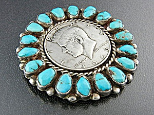 Native American Kennedy Brooch Pin 1963 Turquoise Silve (Image1)
