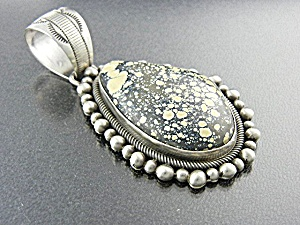 Turquoise New Lander Sterling Silver B Johnson Pendant (Image1)
