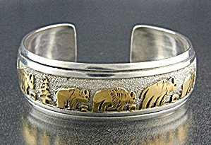 Native American ommy Singer Sterling Silver Gold Cuff (Image1)