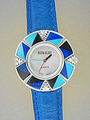 Surrisi Turquoise Lapis Onyx Sterling Silver Wristwatch