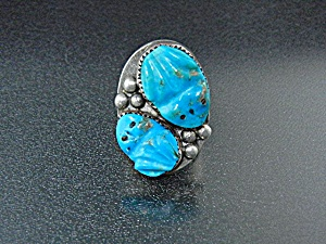 Native American Carved Turquoise Sterling Silver Frogs  (Image1)