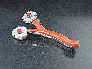 Coral Mother Pearl Sterling Silver Flowers Amy Kahn  (Image1)