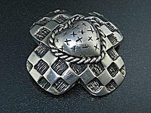 Dian Malouf Texas Sterling Silver Heart Brooch Pendant (Image1)