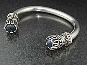 Taxco Mexico TE-25 Sterling Silver Lapis Bracelet (Image1)