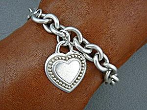 Judith Ripka Sterling Silver Heart Link Bracelet  (Image1)