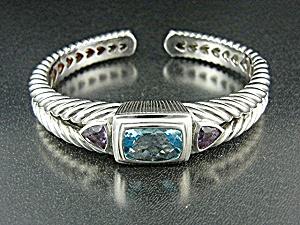 Judith Ripka Sterling Silver Blue Topaz Amethyst Bracel (Image1)