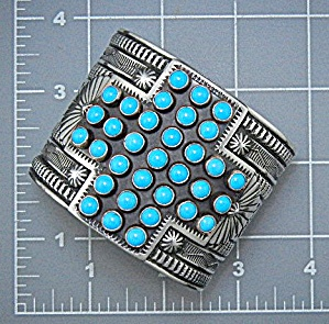 Navajo Sterling Silver Turquoise Sunshine Reeves Cuff