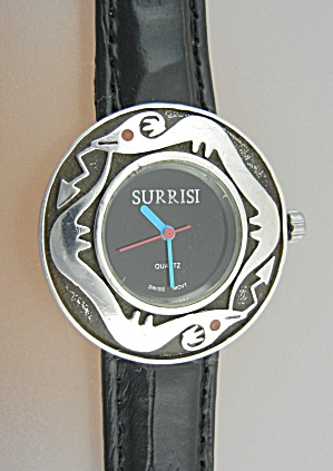 Surrisi Sterling Silver Onyx Face Santa Fe Serpent Watc