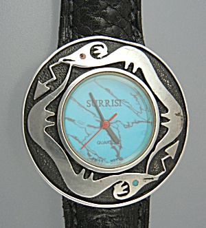 Surrisi Sterling Silver Turquoise Santa Fe Serpent Watc