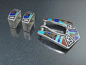 Coral Turquoise Lapis Sterling Silver Studio GL Buckle (Image1)