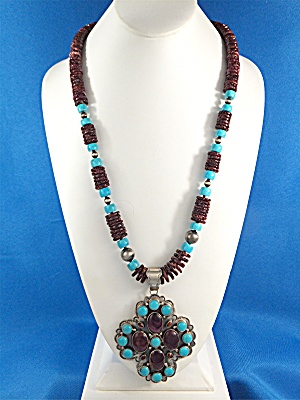 Necklace Sterling Silver Spiny Oyster Turquoise B. Lee (Image1)