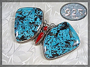 Pendant Pin Sterling Silver Turquoise Coral Butterfly N (Image1)