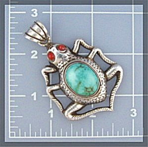 Sterling Silver Tibet Turquoise Coral Frog Pendant (Image1)