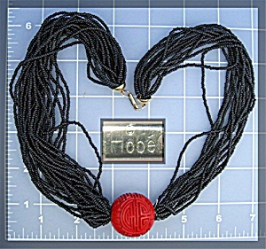 Necklace HOBE Red Cloisinee and  Black Beads (Image1)