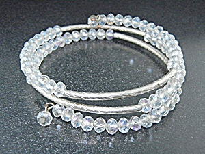 Silver and Crystals Coil Bracelet (Image1)