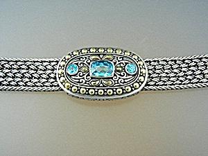 18K Sterling Silver Samuel Benham Blue Topaz Bracelet (Image1)