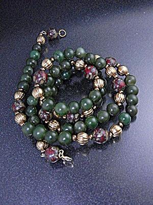 Jade Jasper Gold Beads 30 Inch Neckace (Image1)