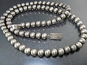 Taxco Mexico Sterling Silver Beads Necklace 24 Inches