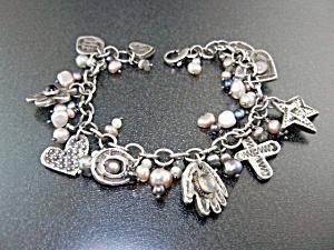 Charm Bracelet Sterling Silver Pearls Garnet Rose Quart (Image1)