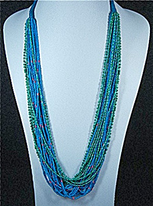 Glass Beads 25 Strands Blue Green Coral 34 Inch