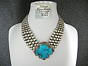 David Troutman Kingman Turquoise Sterling Silver Neckla