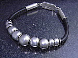 Taxco Mexico Sterling Silver Leather Bracelet (Image1)